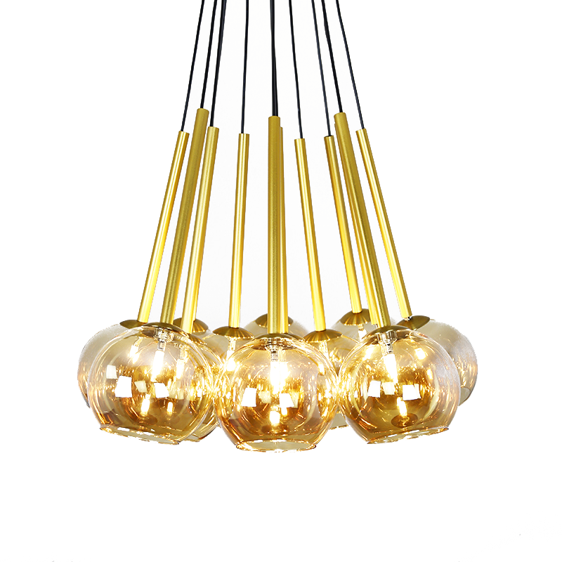 Modern Circular Glass Bell Pendant Light Amber Gold Iron