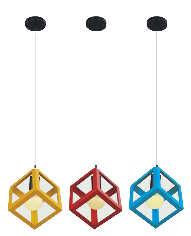 Modern Cubed Contemporary Pendant Lights Red Yellow Blue Iron