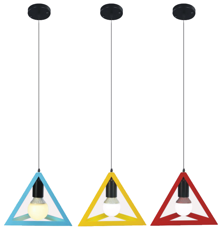 Modern Triangular Contemporary Pendant Lights Red Yellow Blue Iron