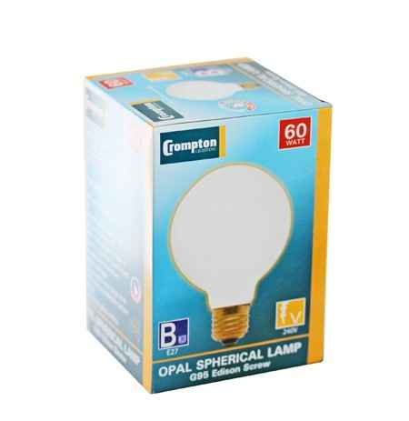 Crompton Opal Spherical Lamp G95 60W Edison