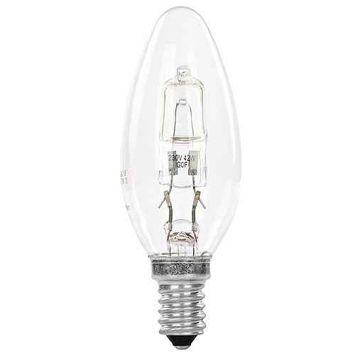 GE Plain Halogen Candle 42W  2800K  SES Dimmable