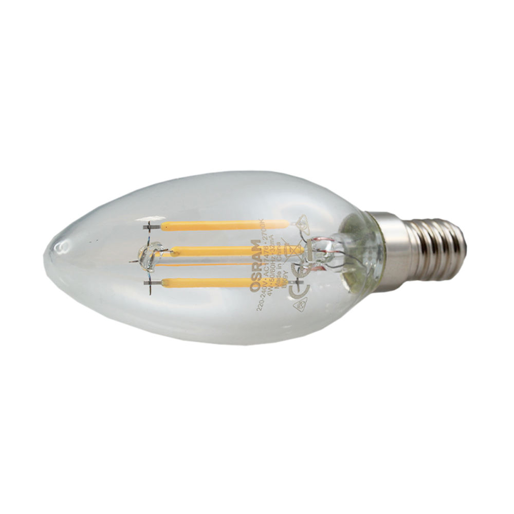 LED Filament Candle 4W 2700K Clear Non-Dimmable E14
