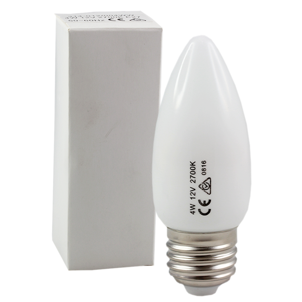 LED Frosted Candle 4W 12V 2700K E27