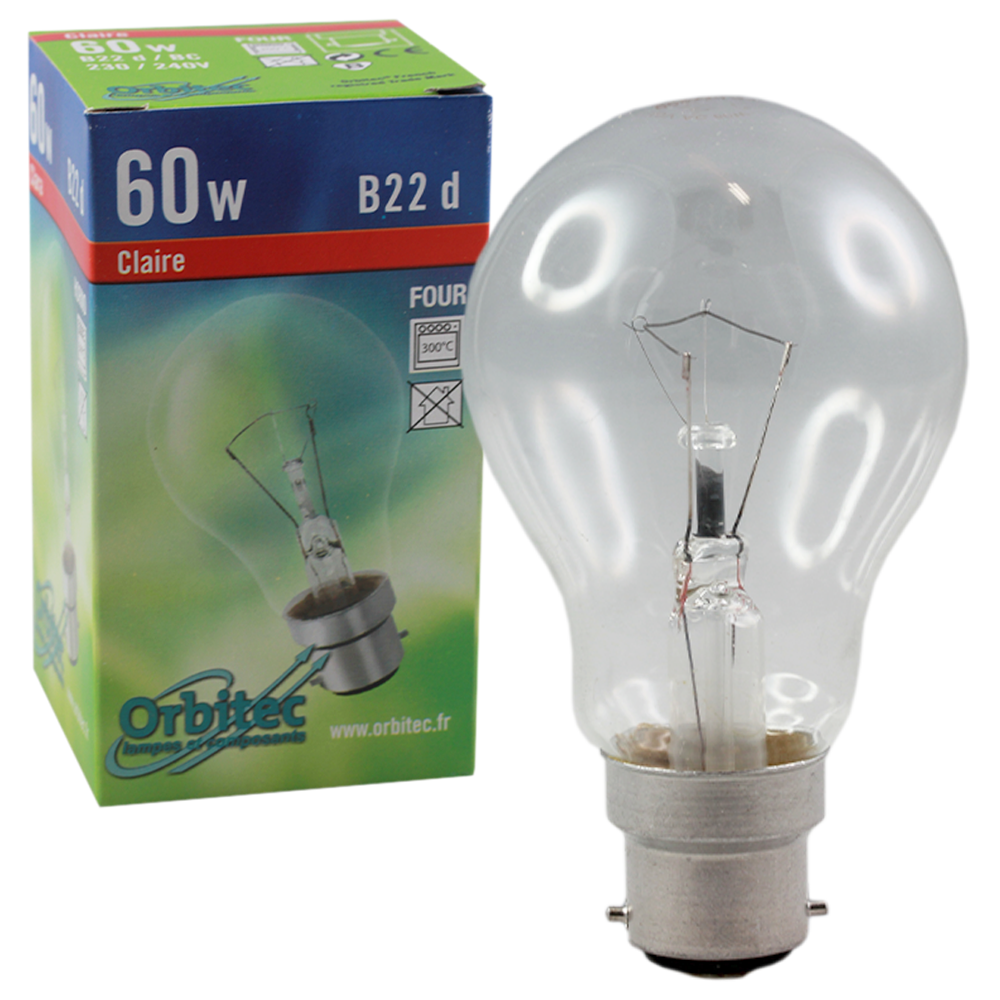 Incandescent Oven Globe 60W Clear 230-240V B22