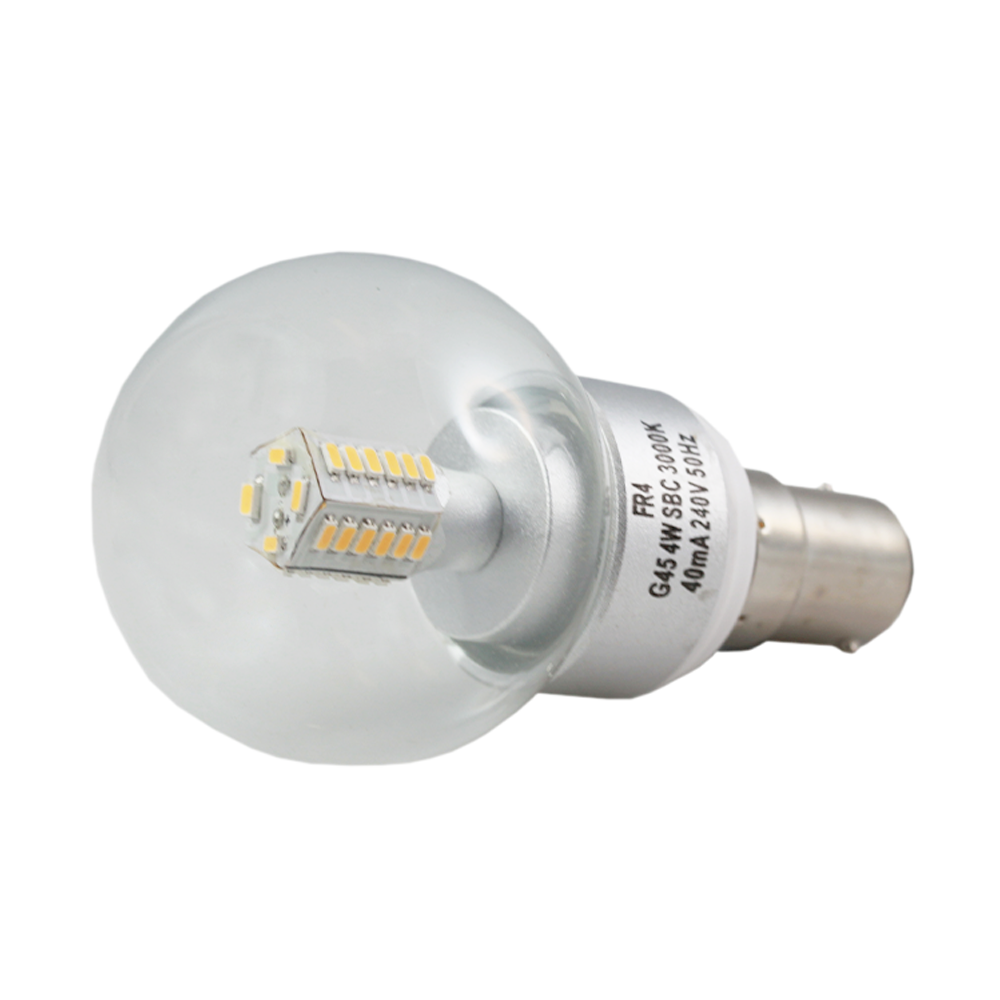 LED Fancy Round Clear 4W 3000K Non-Dimmable BA15d